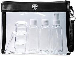 TSA Approved Clear Toiletry Bag with 7 Bottles  | Liduid Tra