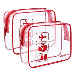 2pcs/pack Lermende Clear Toiletry Bag TSA Approved Travel Ca