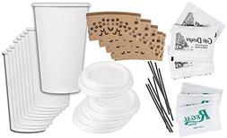 Hot/Cold Coffee & Tea Plain White Cups with Lids and Sleeves