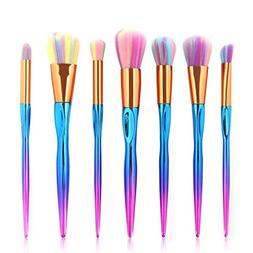 7Pcs Professional Colorful Makeup Brush Sets Cosmetic Brush