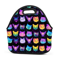 Family Dream Colorful Cat Kitten Lunch Bag Portable Tote Ben