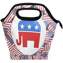 GRATIANUS10 Colorful Cute Elephant with American Flag Insula