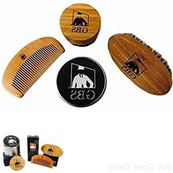3 Pc Combo Set Kit Premium Oval Wood Beard Brush With Boar B