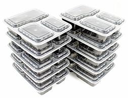 10 Pack Compartment Lunch Box Bento Boxes with Lids - Multi