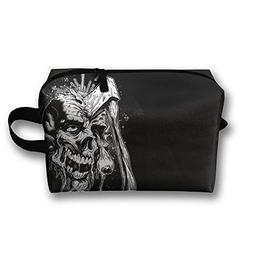 LEIJGS Cool Axe Skull Small Travel Toiletry Bag Super Light
