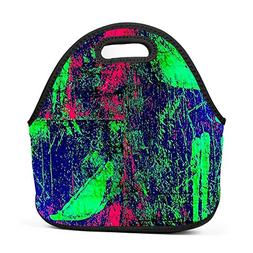 Crazy Electric Punk Neoprene Lunch Tote Thick Insulated Lunc