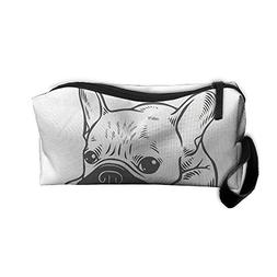 Cream Frenchie Black Mask Portable Storage Pouch Travel Make