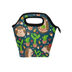 ALAZA Cute Cactus Hedgehogs Mushrooms Insulated Lunch Tote B