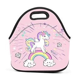 Family Dream Cute Pink Unicorn Rainbow Lunch Bag Portable To