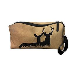 Deer Silhouette In Grass Makeup Bag Zipper Organizer Case Ba