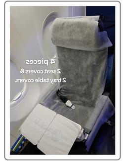 2 Disposable airplane seats & 2 table covers - Travel kit, h