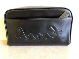 COACH F76982 TRAVEL KIT TOILETRY BAG POUCH DEBOSSED LOGO BLA
