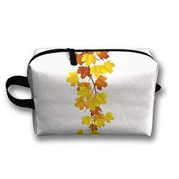 RONG FA Fall Leaves Portable Travel Makeup Bag,Storage Bag P