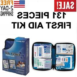 First Aid Kit Bag Box 131 pc Home Car Trauma Military Surviv