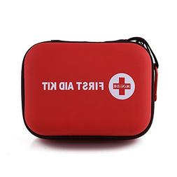 Mini DR First Aid Kit 85 Pieces, Red Semi Hard Case for Emer