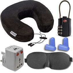 Neck Pillow Travel and Sleeping Kit, Includes Memory Foam Ne