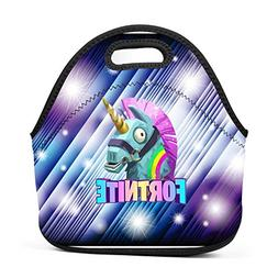 xxxoiu Fort-nite Unicorn Neoprene Lunch Bag Thick Insulated