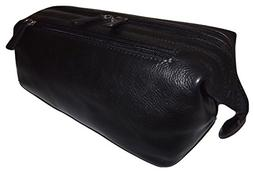 Italia Leather Framed Top Zip Toiletry Travel Shave Kit Blac
