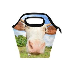 ALAZA Funny Cow With Big Muzzle Staring Insulated Lunch Tote