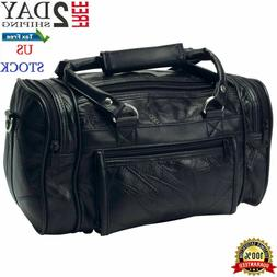 Genuine Black Leather Mens Toiletry Bag Shaving Kit Overnigh