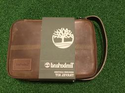 Timberland Genuine Brown Leather Zipper Travel Kit