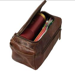 Genuine Handmade Buffalo Leather Unisex Toiletry Bag For Men
