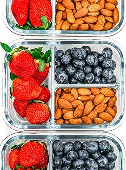 Glass Meal Prep Containers 3 Compartment - Glass Food Stora