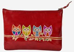 SAAGA Hand Painted Leather Makeup Pouch Cosmetics Bag Makeup