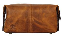 Handmade Buffalo Genuine Leather Toiletry Bag Dopp Kit Shavi