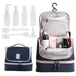 Tuscall Hanging Toiletry Bag + Travel Bottles Set, Premium T