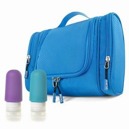 Hanging Travel Toiletry Bag Silicone Bottles Set Premium Org