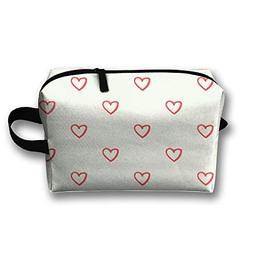RONG FA Heart Pattern Portable Travel Makeup Bag,Storage Bag
