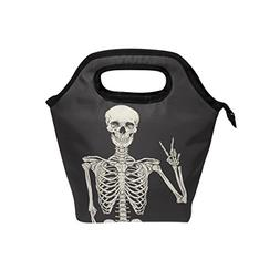 ALAZA Human Skeleton Skull Insulated Lunch Box Cooler Bag fo