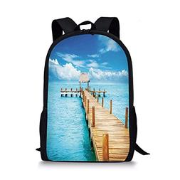iPrint School Bags Tropical,Bungalow on Clear Sea Travel Des
