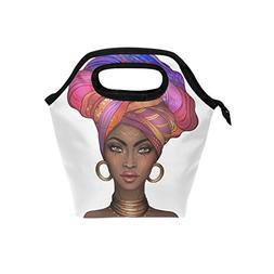 Saobao Insulated Lunch Tote bag African American Woman Handb