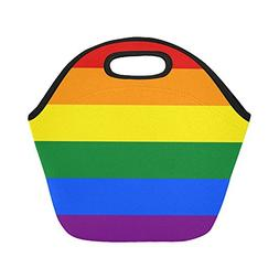 InterestPrint Insulated Lunch Tote Bag LGBT Pride Rainbow Co