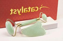 Jade Roller For Face Gua Sha Scraping Massage Tool Set + Bod