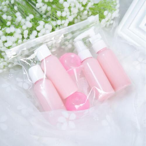 New Travel Pink Plastic Bottles Kit Lotion