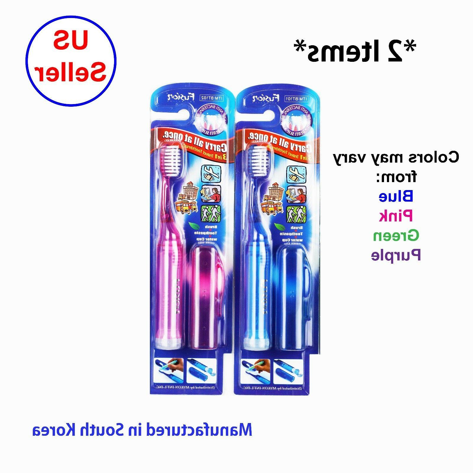 2x 3 in 1 portable toothbrush travel