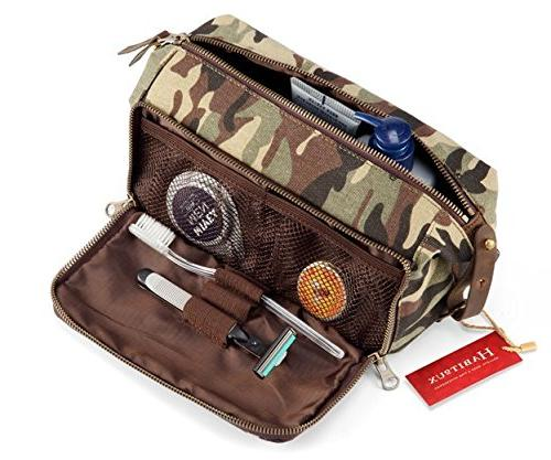 DOPP Kit Mens Toiletry Travel Bag YKK Zipper Canvas & Leathe