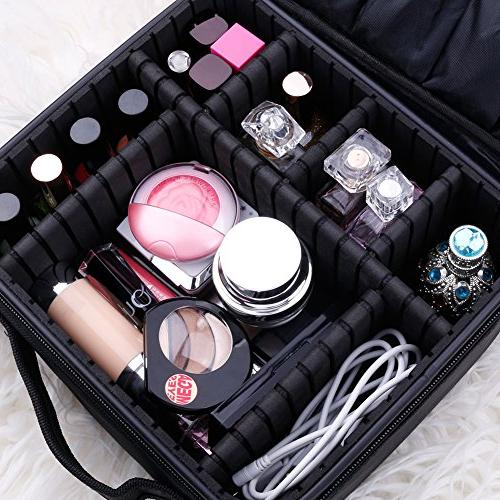 Docolor Portable Train Makeup Case for Makeup Toiletry Jewelry