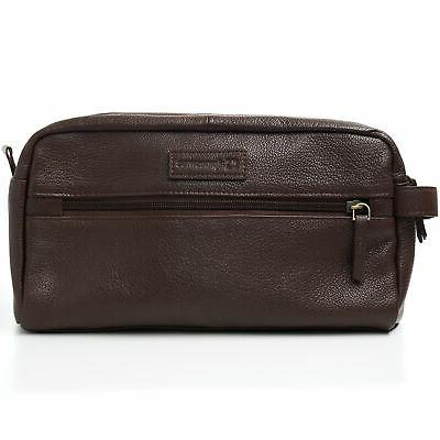 AlpineSwiss Genuine Leather Dopp Kit