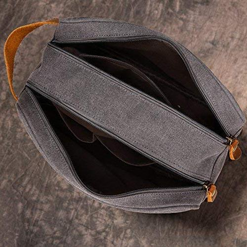 Kemy's Toiletry Mens Bathroom Tolietree Travel Grooming Men Dob Dobb Kits Vintage Toilet Hygiene Double Zipper Compartment Traveling Grey Gifts