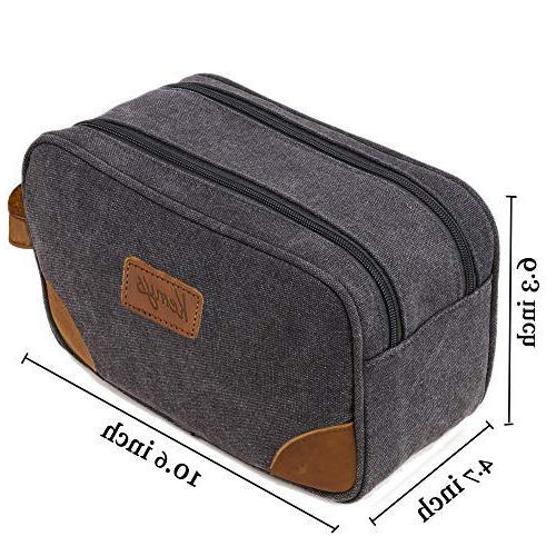 Kemy's Bathroom Travel Grooming Men Dob Kits Toilet Bag Double Zipper for Grey