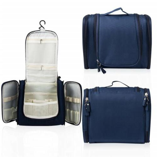 blue hanging toiletry bag travel cosmetic kit