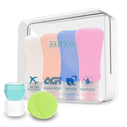 88bd62fc43c5 ETLEE Travel Bottles Set Silicone Portable Containers Leak proof,  Refillable Squeezable Storage Bottles for Shampoo Cosmetics, Lotion,  Conditioner, ...