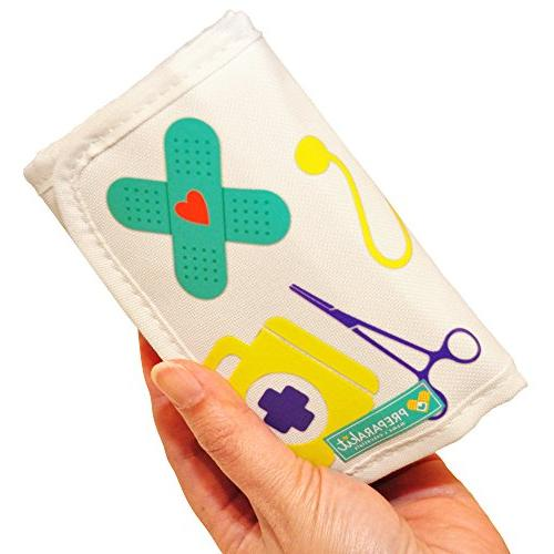 PreparaKit and First Aid Kit Mom Mini Compact 50 for Bag or Purse Small for Emergency, Camping, Car, or Home