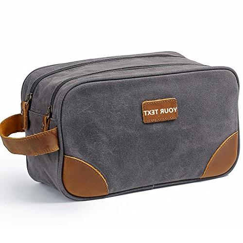 customized waxed canvas toiletry bag