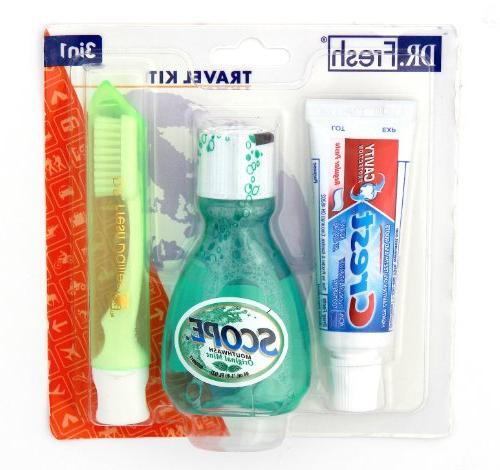 Dental Travel Kit Crest Toothpaste - - Toothbrush with 3-Pack