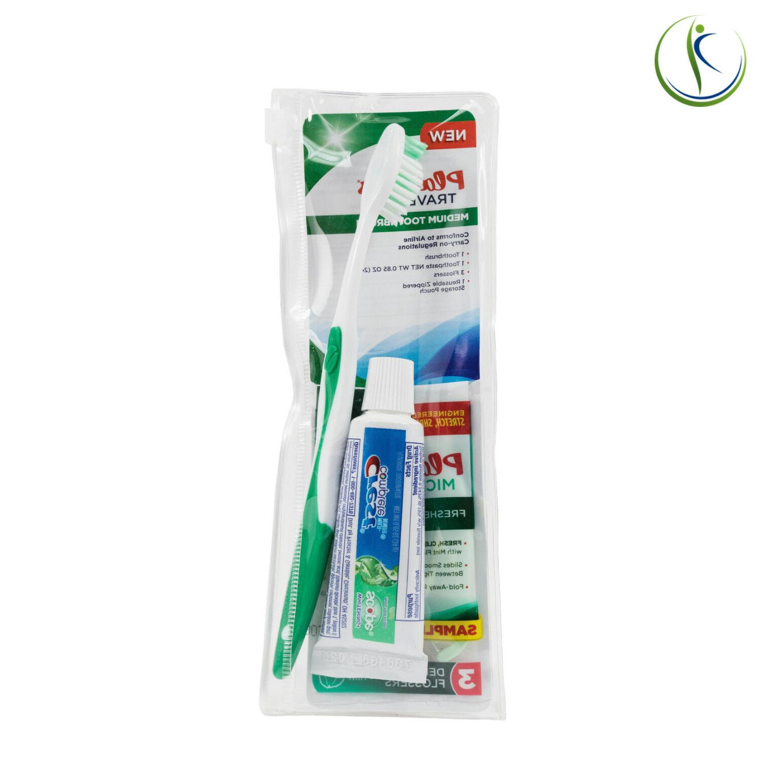 Plackers Dental Toothbrush Oral Travel Kit w/ Crest Paste &